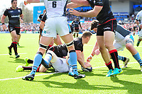 Chris Ashton of Saracens touches the ball down over the Glasgow Warriors try-line. European Rugby Champions Cup Quarter Final, between Saracens and Glasgow Warriors on April 2, 2017 at Allianz Park in London, England. Photo by: Patrick Khachfe / JMP