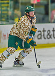 25 November 2014: University of Vermont Catamount Forward Kevin Irwin, a Freshman from Akron, Ohio, in action against the University of Massachusetts Minutemen at Gutterson Fieldhouse in Burlington, Vermont. The Cats defeated the Minutemen 3-1 to sweep the 2-game, home-and-away Hockey East Series. The 12th ranked Catamounts wore their camouflage uniforms for the evening to honor the US military. Mandatory Credit: Ed Wolfstein Photo *** RAW (NEF) Image File Available ***