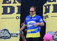 Sept. 30, 2012; Madison, IL, USA: NHRA pro mod driver Mike Janis during the Midwest Nationals at Gateway Motorsports Park. Mandatory Credit: Mark J. Rebilas-