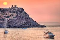 The sunrise at the temple of Poseidon (448–440 B.C.) in Sounio, Greece