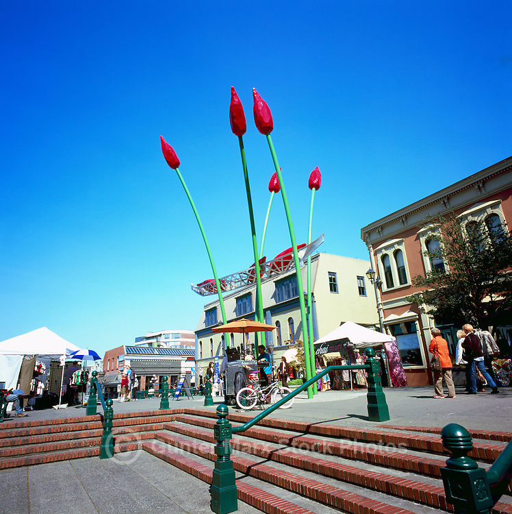 "Victoria, BC, Vancouver Island, British Columbia, Canada - Public Market and Public Art at Bastion Square in Old Town - ""The Commerce Canoe"" (artist Illarion Gallant - 2008)"
