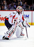 10 February 2010: Washington Capitals' goaltender and former Montreal Canadien Jose Theodore warms up prior to a game against his ex-teammates at the Bell Centre in Montreal, Quebec, Canada. The Canadiens defeated the Capitals 6-5 in sudden death overtime, ending Washington's team-record winning streak at 14 games. Mandatory Credit: Ed Wolfstein Photo