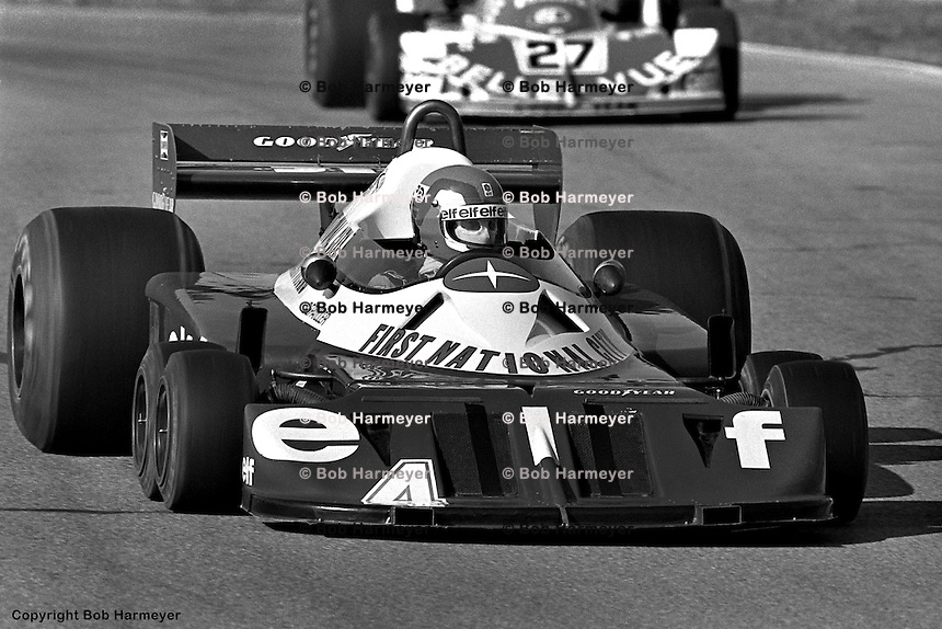 BOWMANVILLE, ONT - OCTOBER 9: Patrick Depailler drives the Tyrrell P34 7/Ford Cosworth DFV ahead of Patrick Nève during practice for the Canadian Grand Prix on October 9, 1977, at Mosport Park near Bowmanville, Ontario.