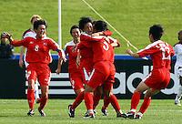 Korea celebrate the goal of Un Hyang Kim..FIFA U17 Women's World Cup Final, USA v Korea DPR, Albany Stadium, Auckland, New Zealand, Sunday 16 November 2008. Photo: Renee McKay/PHOTOSPORT