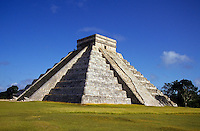 """Main pyramid of Chichen Itza - from Yucatec Maya: Chi'ch'èen Ìitsha',[2] """"at the mouth of the well of the Itza"""") is a large pre-Columbian archaeological site built by the Maya civilization located in the northern center of the Yucatán Peninsula, in the Municipality of Tinúm, Yucatán state, present-day Mexico...Chichen Itza was a major focal point in the northern Maya lowlands from the Late Classic through the Terminal Classic and into the early portion of the Early Postclassic period. The site exhibits a multitude of architectural styles, from what is called """"In the Mexican Origin"""" and reminiscent of styles seen in central Mexico to the Puuc style found among the Puuc Maya of the northern lowlands. The presence of central Mexican styles was once thought to have been representative of direct migration or even conquest from central Mexico, but most contemporary interpretations view the presence of these non-Maya styles more as the result of cultural diffusion."""