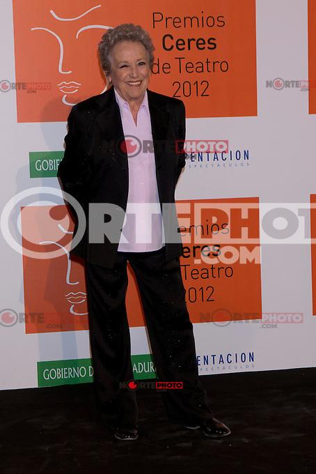 30.08.2012. Photocall guests and winners in the 'Ceres Theatre Awards 2012' in Merida (Extremadura). In the image Amparo Baro (Alterphotos/Marta Gonzalez) /Nortephoto.com<br /> <br />  **CREDITO*OBLIGATORIO** *No*Venta*A*Terceros*<br /> *No*Sale*So*third* ***No*Se*Permite*Hacer Archivo***No*Sale*So*third*