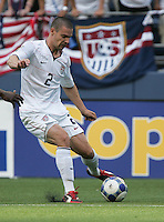 Heath Pearce kicks the ball. USA defeated Grenada 4-0 during the First Round of the 2009 CONCACAF Gold Cup at Qwest Field in Seattle, Washington on July 4, 2009.