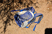 An empty Cruz Azul back pack left behind by Illegals crossing south of Tucson, AZ. This photo was taken during a ride along with Borstar Border Patrol Agents south of Tucson..Photo by AJ Alexander