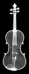 X-ray image of a violin (white on black) by Jim Wehtje, specialist in x-ray art and design images.