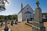 Exterior of the front of St. Sava Serbian Orthodox Church and cemetery, Jackson, Calif
