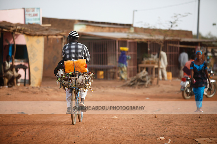 """In West Africa, certain villages have markets that """"assemble"""" at regular intervals, such as weekly or every three days.  The sheep on the back of this man's bicycle is destined for sale at Djibo's weekly Wednesday market in northern Burkina Faso, where people from villages around the region converge to buy and sell food, livestock, and other goods and services."""