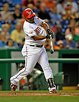 15 August 2008: Washington Nationals' shortstop Ronnie Belliard at bat against the Colorado Rockies at Nationals Park in Washington, DC.  The Rockies edged out the Nationals 4-3, handing the last place Nationals their 8th consecutive loss. ..Mandatory Photo Credit: Ed Wolfstein Photo