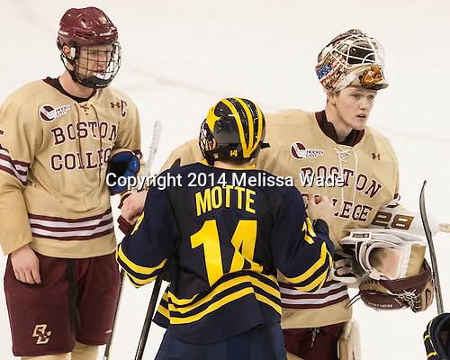 Michael Matheson (BC - 5), Tyler Motte (Michigan - 14), Thatcher Demko (BC - 30) - The Boston College Eagles defeated the visiting University of Michigan Wolverines 5-1 (EN) on Saturday, December 13, 2014, at Kelley Rink in Conte Forum in Chestnut Hill, Massachusetts.
