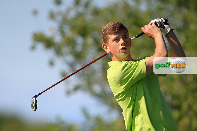 Robert Nevin (Headfort) on the 18th tee during round 1of the Ulster Boys' Amateur Open Championship in Clandeboye Golf Club on Tuesday 8th July 2014.<br /> Picture:  Thos Caffrey / www.golffile.ie