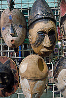 African crafts - masks and scarfs -for sale at market, Stellenbosch, South Western Cape, South Africa