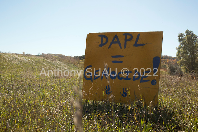 Cannon Ball, North Dakota<br /> September 26, 2016<br /> <br /> The Standing Rock Sioux encampment near the construction of the Dakota Access Pipeline stands against the construction of the new pipeline. <br /> <br /> The Standing Rock Sioux, whose tribal lands are a half-mile south of the proposed route, say the pipeline would desecrate sacred burial and prayer sites, and could leak oil into the Missouri and Cannon Ball rivers, on which the tribe relies for water.<br /> <br /> Opposition to the pipeline has drawn support from 200 Native American tribes, as well as from activists and celebrities. <br /> <br /> Energy Transfer Partners&mdash;one of the major stakeholders in the controversial Dakota Access pipeline&mdash;bought over 6,000 acres of land surrounding the line&rsquo;s route in North Dakota, according to several media reports over the weekend.