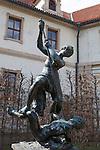 Sculpture in the gardens of Wallenstein Palace (Czech: Valdštejnský palác), a Baroque palace built from 1623  in Malá Strana, Prague, currently the home of the Czech Senate, Czech Republic, Europe