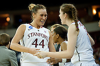 FRESNO, CA--Joslyn Tinkle celebrates in the final minutes en route to a 81-69 win over Duke at the Save Mart Center for the West Regionals Championship of the 2012 NCAA Championships. The Cardinal advances to the Final Four in Denver, facing Baylor in the semifinals.