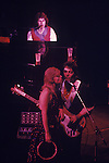 Paul and Linda McCartney Wings Tour 1975. Paul Linda nd Denny Laine, Liverpool. England.