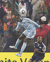 Sporting Kansas City midfielder Kei Kamara (23) heads the ball. In a Major League Soccer (MLS) match, the New England Revolution defeated Sporting Kansas City, 3-2, at Gillette Stadium on April 23, 2011.