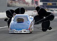 Nov 12, 2016; Pomona, CA, USA; NHRA top alcohol funny car driver Mike Drake during qualifying for the Auto Club Finals at Auto Club Raceway at Pomona. Mandatory Credit: Mark J. Rebilas-USA TODAY Sports