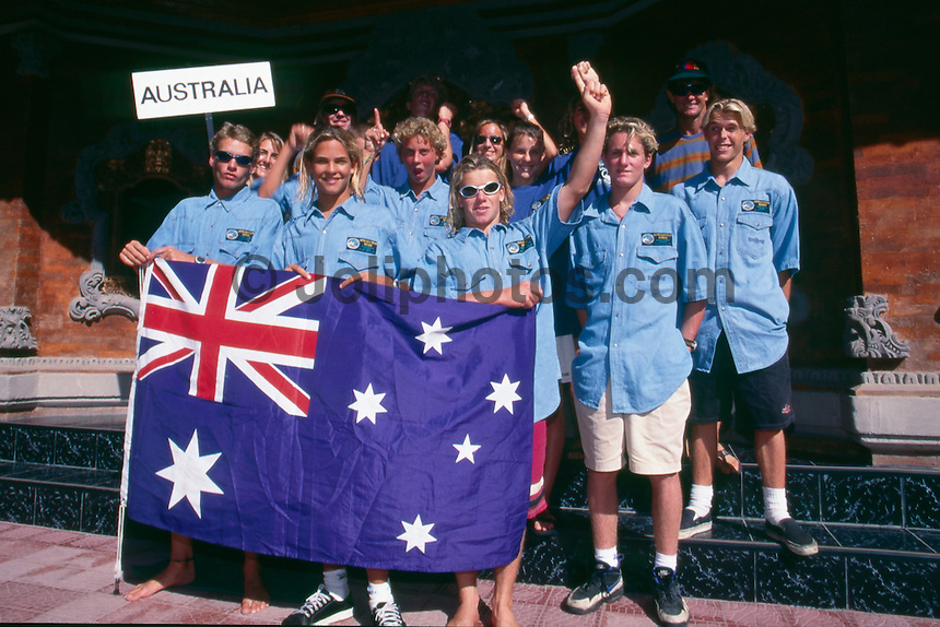 Kuta Beach, Bali, Indonesia. Team Australia attending the Quiksilver Grommet contest in 1995. Team members included Australian Team Coach Wayne 'Rabbit' Bartholomew (AUS)  David Rastovich (AUS) winner of the under 16 division, Guy Walker (AUS), Zane Harrison (AUS) Nathan Hedge (AUS) Lee Winkler (AUS), Dane Beavor (AUS),  and Mark Warren (AUS). Photo: joliphotos.com