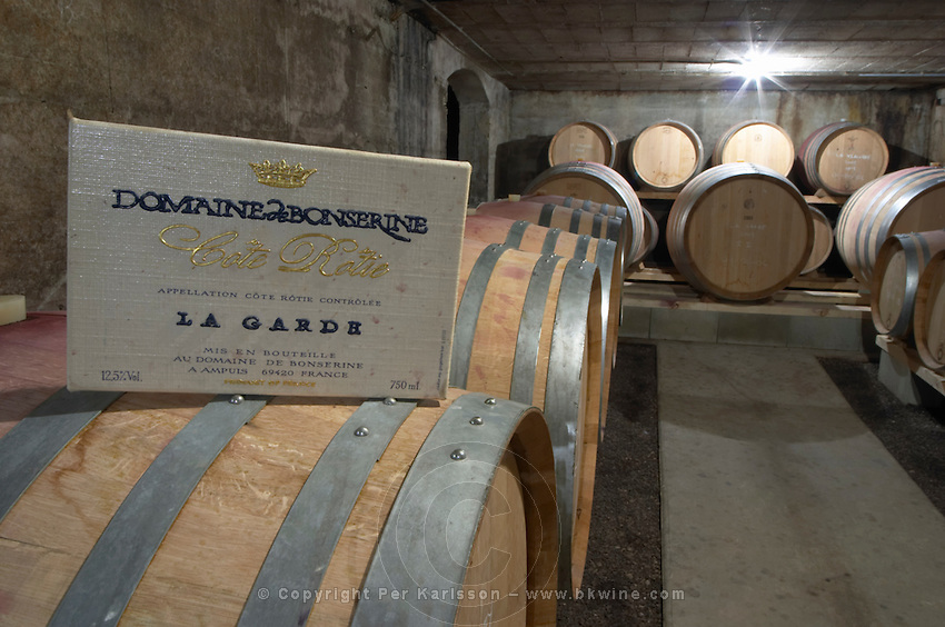 barrel aging cellar domaine bonserine ampuis rhone france