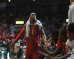Ole Miss guard Dundrecous Nelson (5)  cheers at the C.M. &quot;Tad&quot; Smith Coliseum in Oxford, Miss. on Tuesday, February 1, 2011. Ole Miss won 71-69.