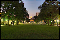 From the south mall of the UT Campus, this view looks towards the Texas State Capitol building in the early morning light.