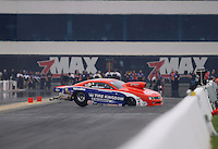 Sept. 16, 2012; Concord, NC, USA: NHRA pro stock driver Shane Gray loses control as he crashes during the O'Reilly Auto Parts Nationals at zMax Dragway. Gray would be uninjured. Mandatory Credit: Mark J. Rebilas-