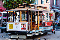 United States, California, San Francisco. The cable car turntable at Fisherman's Wharf.