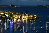 Gallows Point Resort night scene<br /> Cruz Bay, St. John<br /> U.S. Virgin Islands