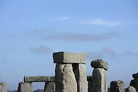 Fragments of Horseshoe of Sarsen Trilithons; circle of Sarsen stones with lintels, Stonehenge, Neolithic and Bronze Age megalithic monument, 3050 - 1500 BC, Salisbury, Wiltshire, England, UK. Picture by Manuel Cohen