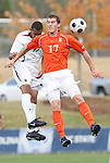 12 November 2008: Clemson's Connor Barbaree (right) and Boston College's Karl Reddick (left). Boston College defeated Clemson University 1-0 in the second sudden-victory overtime period at Koka Booth Stadium at WakeMed Soccer Park in Cary, NC in a men's ACC tournament quarterfinal game.
