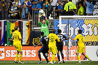 Columbus Crew goalkeeper Matt Lampson (28) grabs a ball. The Columbus Crew defeated the Philadelphia Union 2-1 during a Major League Soccer (MLS) match at PPL Park in Chester, PA, on August 29, 2012.