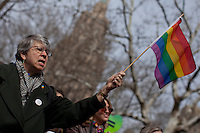 A lesbian holds up a flag while she attends a rally supporting equality sex marriage for guys in New York, March 24, 2013. Photo by Eduardo Munoz Alvarez / VIEWpress.