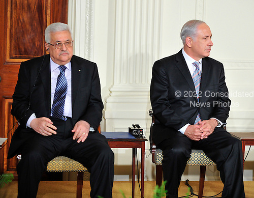 President Mahmoud Abbas of the Palestinian Authority, and Prime Minister Benjamin Netanyahu of Israel listen as United States President Barack Obama and Middle Eastern leaders make statements in the East Room of the White House following their bi-lateral meetings  in Washington, D.C. on Wednesday, September 1, 2010.  The statements are in advance of the opening of the first direct talks in two years between Israel and the Palestinian Authority scheduled to begin at the State Department in Washington, D.C. tomorrow.  .Credit: Ron Sachs / Pool via CNPUnited States President Barack Obama and Middle Eastern leaders make statements in the East Room of the White House following their bi-lateral meetings  in Washington, D.C. on Wednesday, September 1, 2010.  The statements are in advance of the opening of the first direct talks in two years between Israel and the Palestinian Authority scheduled to begin at the State Department in Washington, D.C. tomorrow.  From left to right: Prime Minister Benjamin Netanyahu of Israel, President Hosni Mubarak of Egypt, President Mahmoud Abbas of the Palestinian Authority, and King Abdullah II of Jordan..Credit: Ron Sachs / Pool via CNP.(RESTRICTION: NO New York or New Jersey Newspapers or newspapers within a 75 mile radius of New York City)