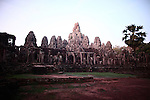 The ruins of Bayon, just after sunrise in Angkor Thom, Cambodia. June 8, 2013.