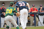 Ole Miss' Matt Snyder (33) is caught in a rundown for an out on a failed squeeze play by Wright State's Jordan Marker (28) at Oxford University Stadium in Oxford, Miss. on Saturday, February 19, 2011.