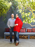 Samuel and Caitlin Dowe-Sandes in the courtyard of their Marrakech home.
