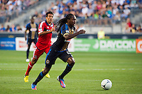 Keon Daniel (26) of the Philadelphia Union. The Chicago Fire defeated the Philadelphia Union 3-1 during a Major League Soccer (MLS) match at PPL Park in Chester, PA, on August 12, 2012.