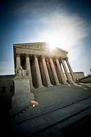US Supreme Court Washington DC<br /> <br /> The Supreme Court building, located on Capitol Hill in Washington DC, is the seat of the Supreme Court of the United States. It is situated in Washington, D.C one block east of the United States Capitol. Architectural detail of the west fa&ccedil;ade includes striking columns and bears the motto &quot;Equal Justice Under Law,&quot;. A national icon and popular tourist attraction in Washington DC.