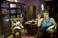 Two women after a party at a friend's house.