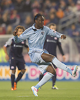 Sporting Kansas City midfielder Kei Kamara (23) follows through on a penalty kick score. In a Major League Soccer (MLS) match, the New England Revolution defeated Sporting Kansas City, 3-2, at Gillette Stadium on April 23, 2011.