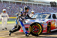 On-track action photo from the 2012 Coca-Cola 600 NASCAR Sprint Cup race held May 27 (Memorial Day Sunday) at the Charlotte Motor Speedway in Concord, NC. The annual 600-mile (965.606 km) race, first held in 1960, is the longest race sanctioned by NASCAR. Quaker State Chevrolet driver Kasey Kahne, with the Hendrick Motorsports group, won the race, finishing nearly five seconds ahead of Denny Hamlin. It was Kahne's 13th career win.
