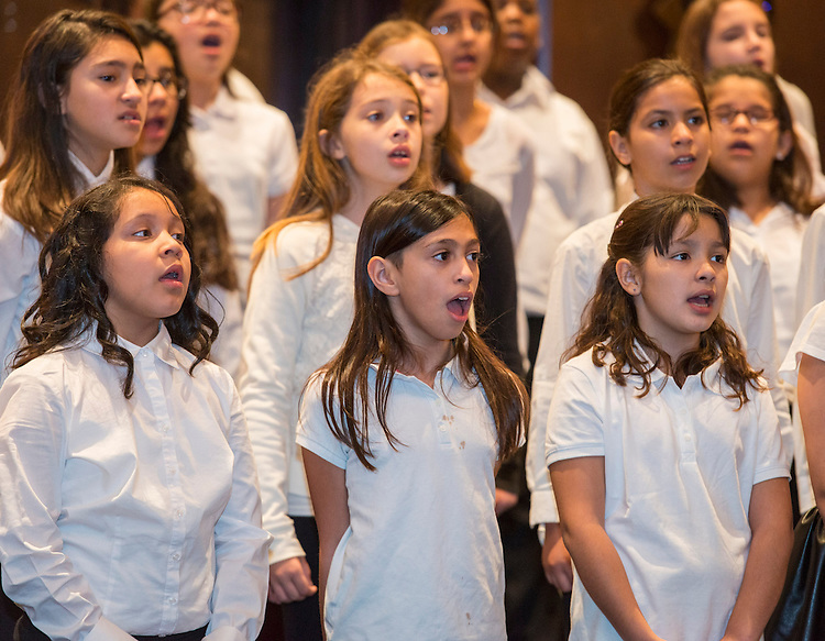 Students practice the National Anthem before the State of the Schools luncheon, February 11, 2015.