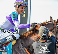 The connections of I'll Have Another( no. 9, purple cap) celebrate their win in the winner's circle for the Preakness Stakes to grab the second leg of the Triple Crown at Pimlico Race Course on May 19, 2012