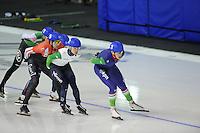 SPEEDSKATING: CALGARY: 15-11-2015, Olympic Oval, ISU World Cup, Mass Start B-division, Jan Blokhuijsen (#3), ©foto Martin de Jong