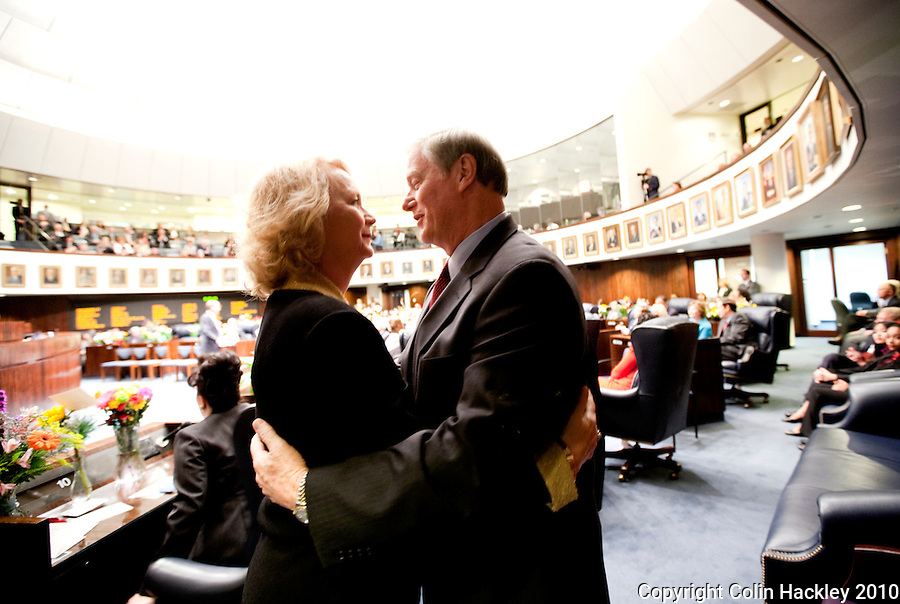 TALLAHASSEE, FLA. 3/2/10-OPENING DAY CH03-Sen. John Thrasher, R-St. Augustine, right, embraces Linda King, the widow of Sen. Jim King, R-Jacksonville, after the Senate named a road in Jacksonville and a committee room at the Capitol after King during the opening day of the legislative session, Tuesday at the Capitol in Tallahassee. King died of pancreatic cancer last year at the age of 69. Thrasher was elected to the seat King once held...COLIN HACKLEY PHOTO