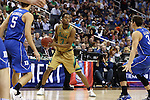 10 March 2016: Notre Dame's V.J. Beachem (center) is guarded by Duke's Luke Kennard (5) and Grayson Allen (right). The University of Notre Dame Fighting Irish played the Duke University Blue Devils at the Verizon Center in Washington, DC in the Atlantic Coast Conference Men's Basketball Tournament quarterfinal and a 2015-16 NCAA Division I Men's Basketball game. Notre Dame won the game 84-79 in overtime.